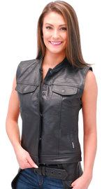 Jamin Leather Women's Long Leather CCW Club Vest w/1 Piece Back #VL10140GK