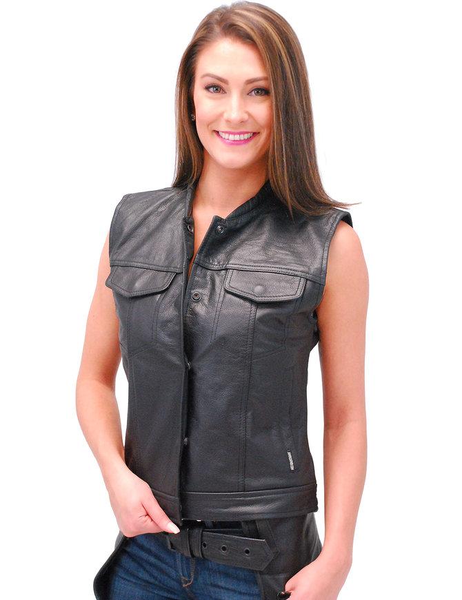 Jamin Leather Women's Long Leather CCW Club Vest w/1 Piece Back #VL10140GK