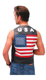 USA Flag Leather Vest - Lightweight #VM2USA