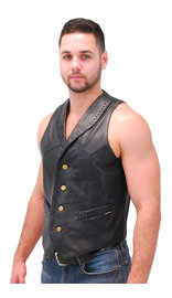 Jamin Leather Black Lambskin Western Whip Stitch Vest #VM2060WK