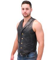 Jamin Leather Black Lambskin Western Whip Stitch Vest #VM2060WK
