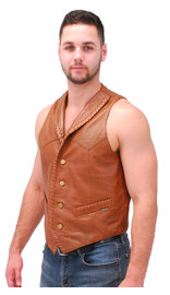 Jamin Leather Light Brown Vintage Waxy Lambskin Western Whip Stitch Vest #VM2061WN