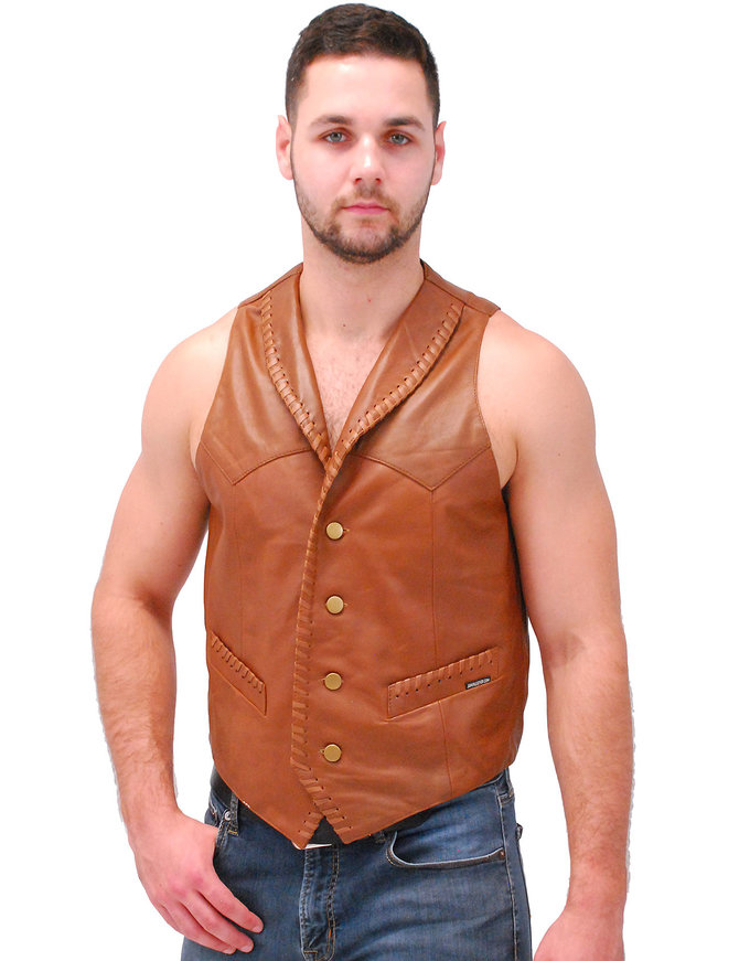 Jamin Leather Light Brown Vintage Waxy Lambskin Western Whip Stitch Vest #VM2061WN
