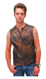 Men's Vintage Brown Quilt Shoulder Leather CCW Pocket Vest #VMA6714QGN (M-4X)