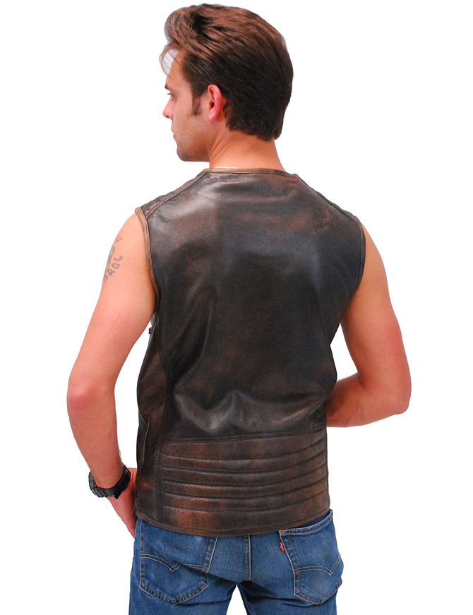 Men's Vintage Brown Quilt Shoulder Leather CCW Pocket Vest #VMA6714QGN