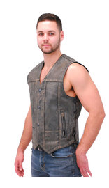Men's Vintage Gray Side Lace Leather 10 Pocket CCW Vest #VMA6717LGY