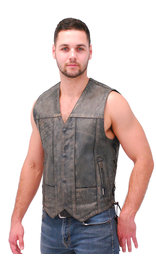 Men's Vintage Gray Side Lace Leather 10 Pocket CCW Vest #VMA6717LGY (S-5X)