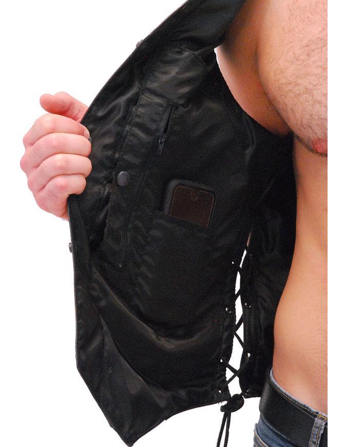 Men's Vintage Gray Side Lace Leather 10 Pocket CCW Vest #VMA6717LGY