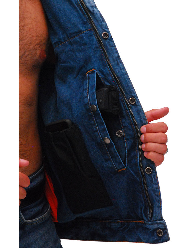 Daniel Smart Men's Dual Inside Pocket Blue Denim CCW Vest #VMC981GZU