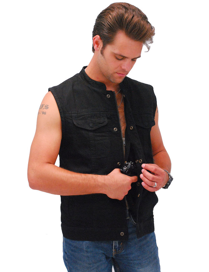 Black Denim Hidden Snap & Zipper Club Vest w/CCW Pocket #VMC3000BK