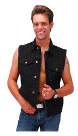 Black Denim Button Up Club Vest w/CCW Pocket & Shirt Collar #VMC5150K