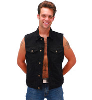 Black Denim Button Up Club Vest w/CCW Pocket & Shirt Collar #VMC5150K