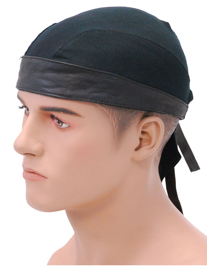 Unik Leather and Comfort Stretch Lycra Skull Cap #BAND9160K