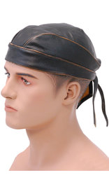 Unik Vintage Brown Leather Skull Cap #BAND9195DN
