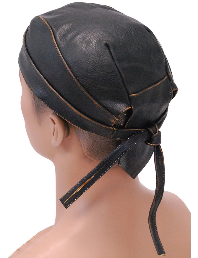 Unik Vintage Brown Leather Skull Cap #BAND9195DN