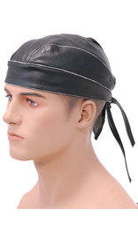 Unik Vintage Black Leather Skull Cap #BAND9196DK