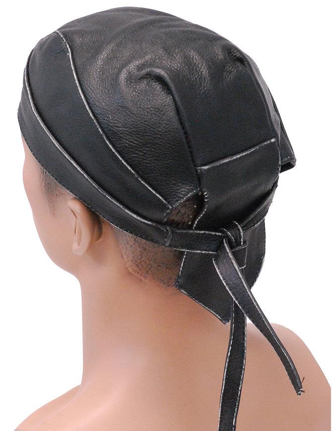 Unik Vintage Black Leather Skull Cap #BAND9196DK