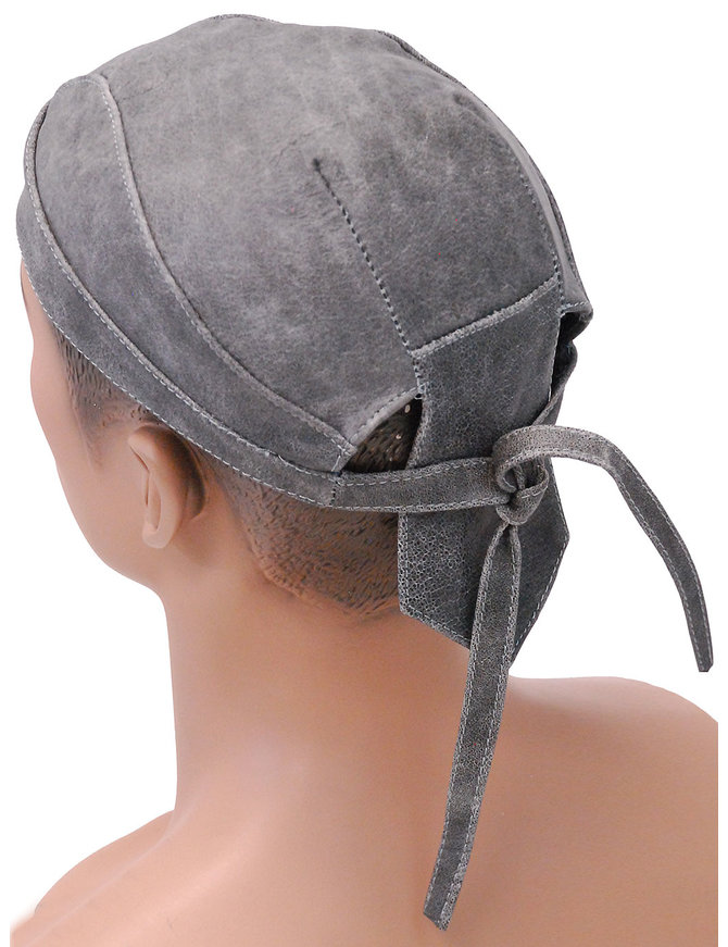 Unik Vintage Gray Leather Skull Cap #BAND9206DGY