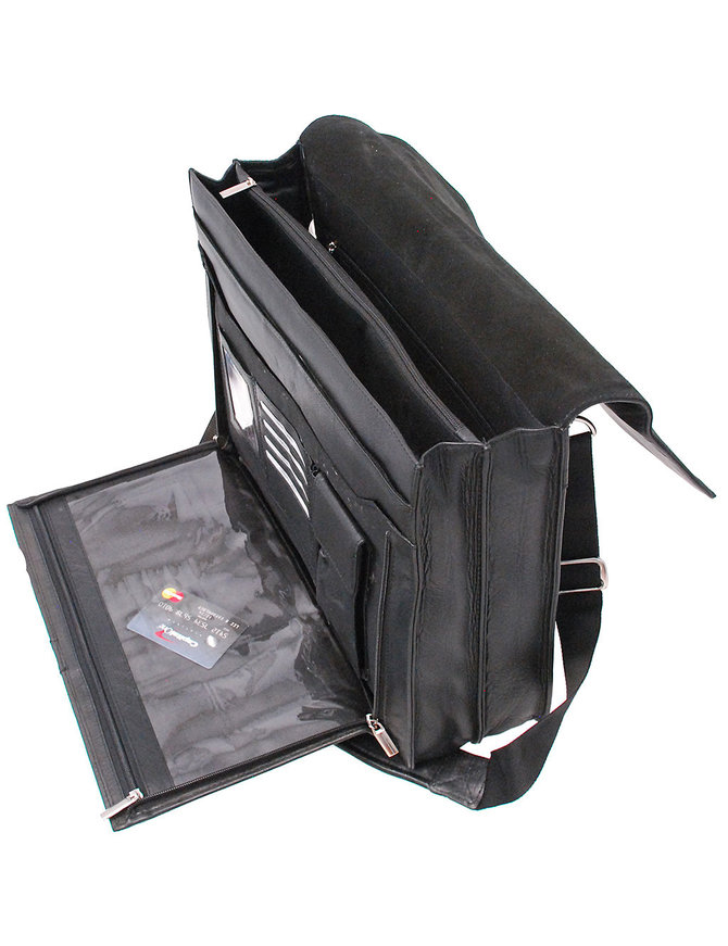 Large Black Leather Briefcase Organizer #BC144AXK