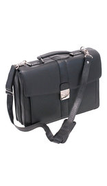 Medium Black Leather Briefcase Organizer #BC1440BSK