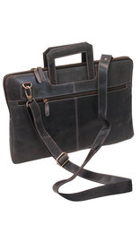 Slim Vintage Black Leather Briefcase #BC163010K