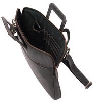 Slim Vintage Black Leather Briefcase #BC163010K