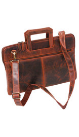 Slim Vintage Oil Tanned Brown Leather Briefcase #BC163011N