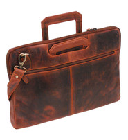 Slim Vintage Oil Tanned Brown Leather Briefcase #BC163011N