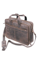 "4"" Deep Vintage Gray/Black Leather Laptop Briefcase #BC163130K"