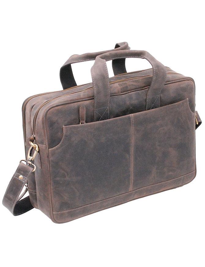 "4"" Deep Vintage Gray/Black Leather Laptop Briefcase #BC163130K"