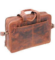 4'' Deep Vintage Oil Tanned Brown Leather Briefcase #BC163131N