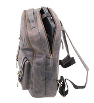 Vintage Gray/Black Leather Laptop Backpack #BP163170K