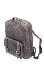 Vintage Gray/Black Leather Laptop Backpack #BP163170K