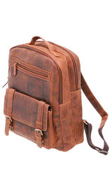 Vintage Oil Tanned Brown Leather Laptop Backpack #BP163171N