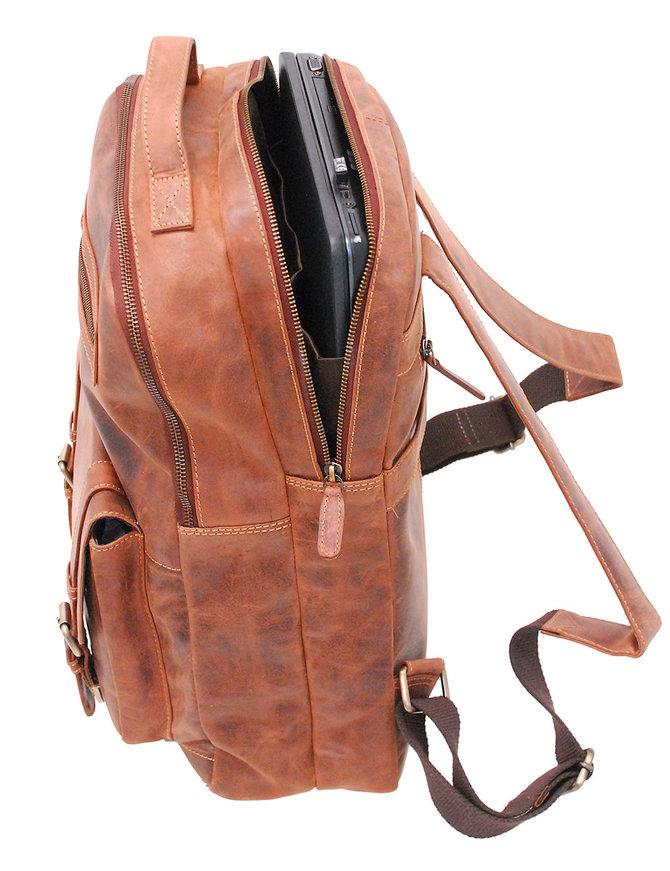 Vintage Oil Tanned Brown Leather Laptop Backpack #BP163171N