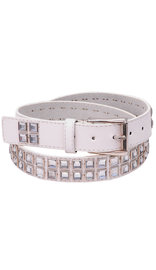 Jamin Leather White Leather Rhinestone studded Belt #BT8001WCRY