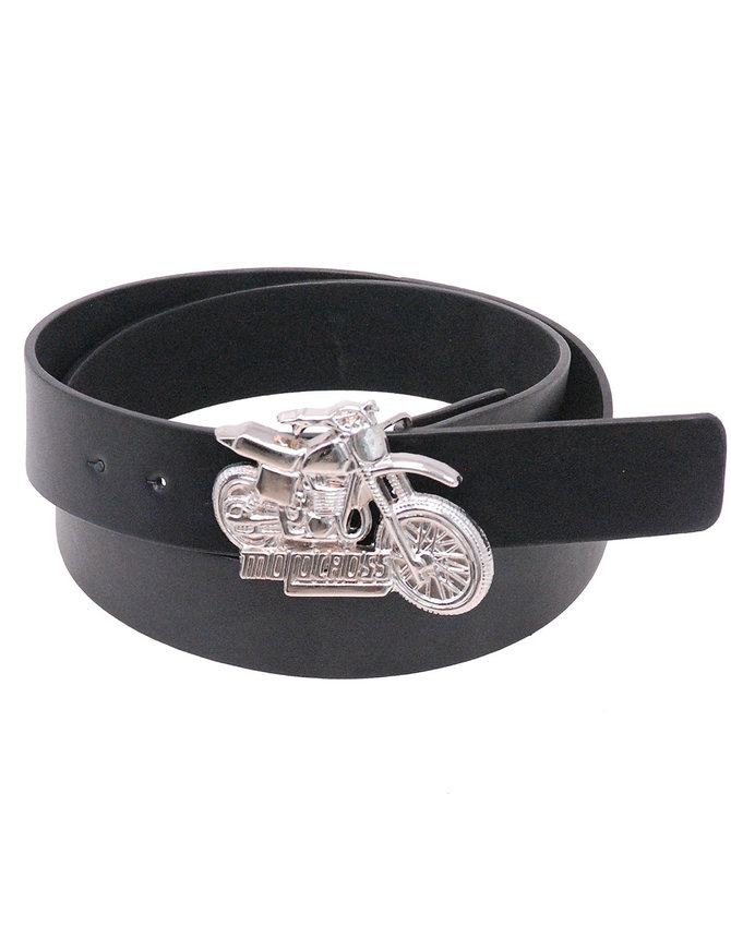Jamin Leather Black Leather Belt with Motorcycle Buckle #BT8716BIKE
