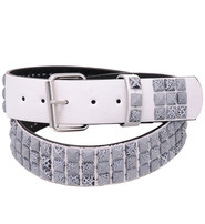 Jamin Leather Triple Row Gray Crackle Studded White Belt #BT9775WSGY