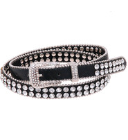 Two Row Rhinestone Studded Narrow Belt #BT21842SCRY