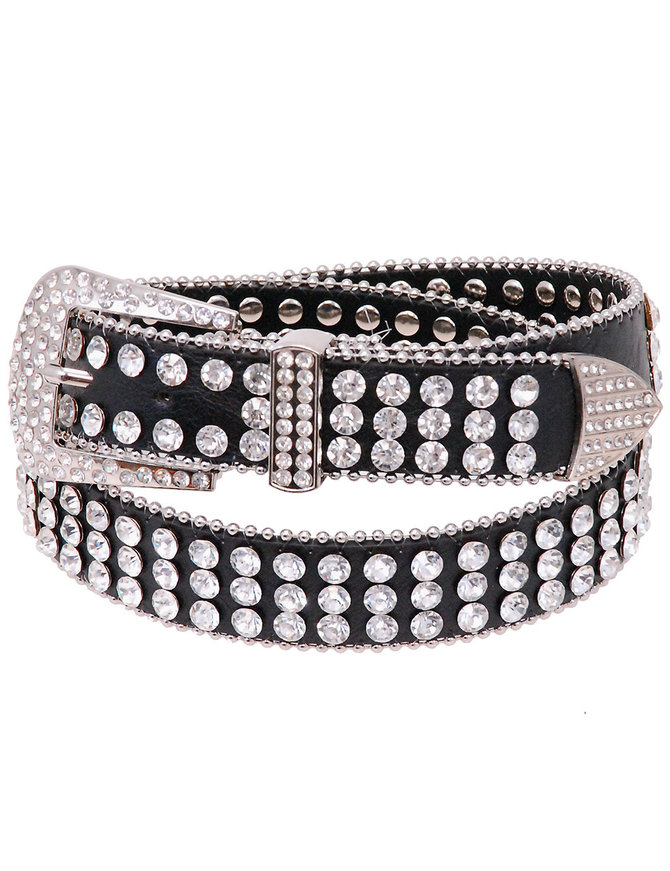 Triple Row Rhinestone Studded Western Belt #BT21843WCRY