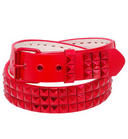 Jamin Leather Triple Row Red Studded Leather Belt #BTBY1362R