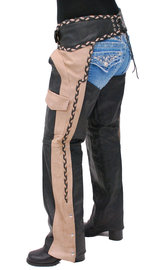 Unik Two-Tone Western Chaps with Braid #C7302TN (XS-5X)