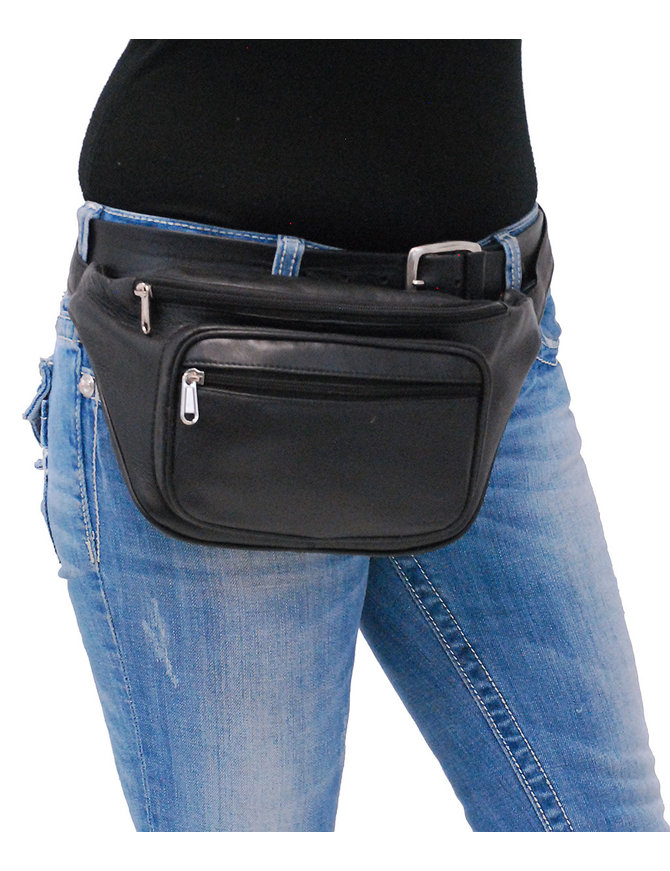 Heavy Black Cowhide Leather Waist Bag #FP310K