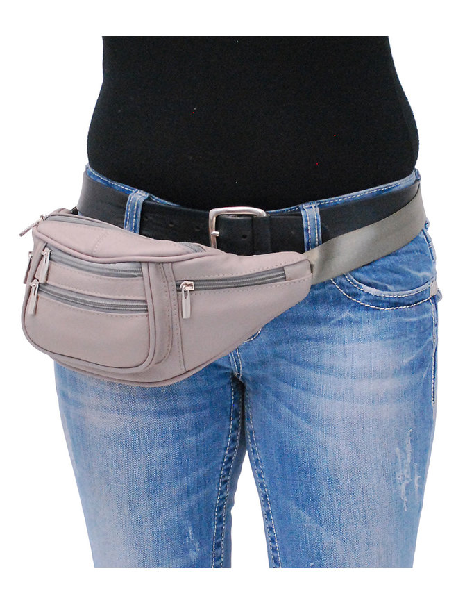 Gray Cowhide Leather Waist Bag #FP30772GY