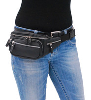 Black Cowhide Leather Waist Bag w/Silver Zippers #FP30780SK