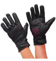 Daniel Smart Pink Stitch Women's Padded Motorcycle Gloves #GL81PINK