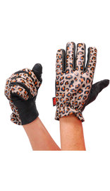 First MFG Women's Leopard Leather Motorcycle Gloves #GL3015LEOP