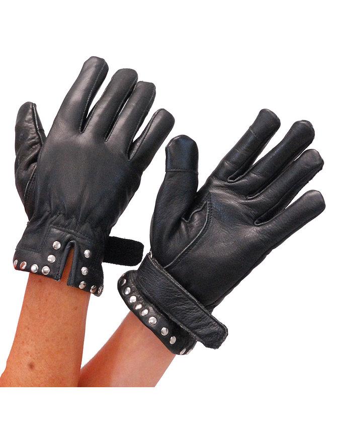 Unik Women's Studded Cuff Leather Gloves #GL8275S