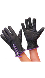 Unik Naked Leather Purple Trim Zip Gloves for Women #GL8261PURP