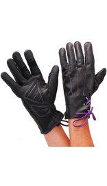 Milwaukee Women's Purple Lace-Up Leather Gloves #GL777106PU